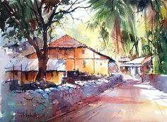 Vilas Kulkarni Easy Watercolor, Watercolor Artwork, Watercolor Sketch, Watercolour Painting, Watercolors, Watercolor Architecture, Watercolor Landscape, Landscape Art, Landscape Paintings