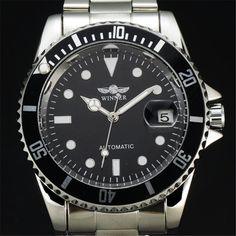 WINNER Classic Steel Band Chronograph Design Rotate Case Auto Date Calendar Clock Men Male Dress Mechanical Automatic Watch