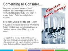 ↪Salon Owners↩ Add value for your clients while adding $500 - $2500 - $5000 in retail revenue with premium skin care from Rodan+Fields. Not only will your clients be happy but they'll send you referrals from across the US & Canada. Talk to me about an actionable plan that won't take time away from your already busy work days. Visit tonyatallulah.com and call me for answers to your questions. In gratitude, Tonya Morris