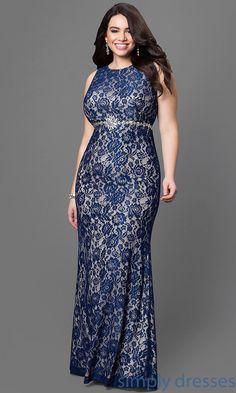 Long Sleeveless Lace Empire-Waist Dress - Brought to you by Avarsha.com