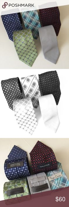 Bundle Five : Colorful Mall Brands 100% Silk Ties Have a different tie for everyday of week with this super bundle of classy,  colorful ties. All of the ties are made of 100% . These ties range retail in the $40 - $80 + range. Don't miss out on this fantastic bargain that will instantly add a pop of class and color to your suits and shirts. 2 Calvin Klein ties, Pierre Cardin, Kenneth Cole Reaction, Nautica #calvinkleinties,  #tiebundle, #nauticatie, #pierrecardintie, #kennethcoletie Calvin…