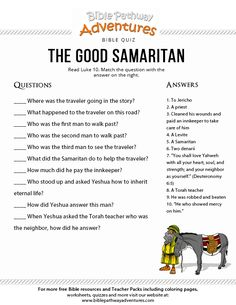 Enjoy our free Bible Quiz, The Good Samaritan. Fun for kids to print and test their knowledge. Feel free to share with others, too! Bible Activities For Kids, Bible Stories For Kids, Bible Study For Kids, Kids Bible, Children's Bible, Scripture Art, Kids Sunday School Lessons, Sunday School Activities, School Games