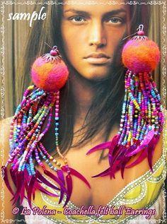 HIPPIE MEDUSA Coachella felt ball earringshand made by LaPolena