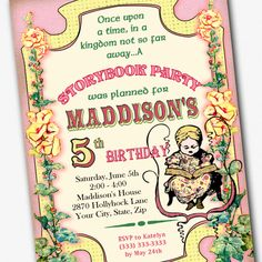 Storybook Birthday Party Custom 5 x 7 Invitation Printable File by PartyEverAfter