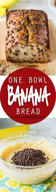 One Bowl Chocolate Chip Banana Bread/muffins One Bowl Banana Bread, Chocolate Chip Banana Bread, Easy Desserts, Delicious Desserts, Yummy Food, Muffins, Biscuits, Dessert Bread, Banana Bread Recipes