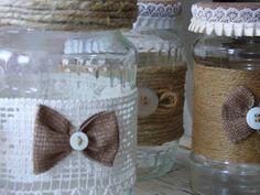 MyShabbyCountryDreams: Barattoli di vetro decorati Shabby Home, Shabby Chic, Pots, Idee Diy, Decoration, Mason Jars, Burlap, Projects To Try, Reusable Tote Bags