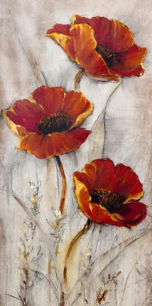 Red Poppies On Taupe II Art Print at Posters2Prints.com