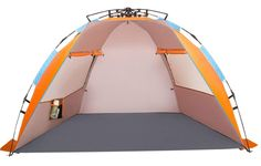 OILEUS X-Large 4 Person Beach Tent Sun Shelter - Portable Sun Shade Instant Tent for Beach with Carrying Bag Stakes 6 Sand Pockets Anti UV for Fishing Hiking Camping Waterproof Windproof Orange Portable Shade, Portable Hammock, Pop Up Beach Tent, Beach Canopy, Beach Shade, Sun Shade, Shade Tent, Instant Tent, Beach Hacks