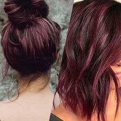 "Tendance cheveux : la couleur ""vin chaud"" : Album photo – aufeminin - All For Hair Color Trending Pastel Purple Hair, Hair Color Purple, Brown Hair Colors, Violet Hair, Brown Blonde Hair, Brunette Hair, Black And Burgundy Hair, Burgundy Hair Ombre, Peekaboo Hair"