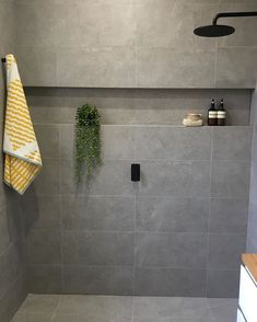 Recently completed ensuite in Brighton East with smart black tapware and beautiful Rome Cement Dark Grey Tiles throughout, finished off… Cement Bathroom, Grey Bathroom Tiles, Bathtub Tile, Bathroom Colors, Master Bathroom, Family Bathroom, Small Bathroom, Gray Shower Tile, Dark Gray Bathroom