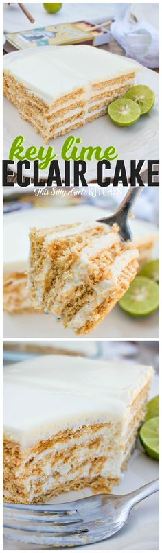 Key Lime Eclair Cake, layers of creamy filling bursting with key lime flavor between graham crackers, topped with vanilla frosting. Tastes just like a key lime pie, but much easier! from http://ThisSillyGirlsLife.com #keylimepie #eclaircake