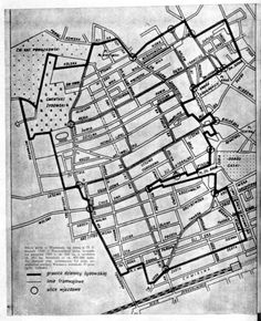 Warsaw, Poland, A map of the ghetto. Over 100,00 Jewish people at any given time were jammed into this small area. Not enough room, food, water. Diseases, starvation