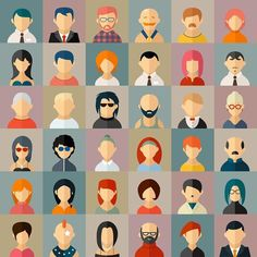 Flat people character avatar icons. Human Icons. $5.00