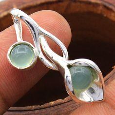 Aqua Chalcedony Round Gemstone -Tulip Bud 925 sterling Silver Pendant Jewelry #Handmade #Pendant #Birthday