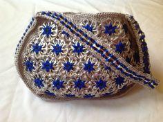 Soda Can Tabs Handbag Handmade in the USA Grey w/ Royal Blue Flowers
