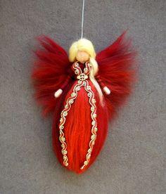 Nadel Filz wolle Fairy Red Angel-Puppe x-mas von Holichsmir auf Etsy