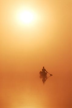 Morning Canoe Basshaunt Lake, Ontario, Canada. By Peter Bowers