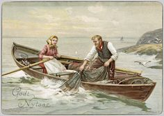 Unorthodox Historical Christmas Card from Norway in 1800s | Norwayscope. Another nontraditional new year card with A Norwegian fisherman and his wife. The card was designed by Oscar Wergeland (1844-1910) in mid 1800s.