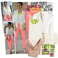 Coral Jeans, White Singlet, White Blazer, Neon Yellow Chunky Necklace, Nude Pumps