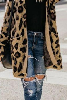 Collarless Flap Pocket Leopard Printed Cardigans – kanaladystar Cardigans For Women, Coats For Women, Leopard Print Cardigan, Casual Date, Winter Fashion, Fashion Outfits, Pocket, Printed, Clothes