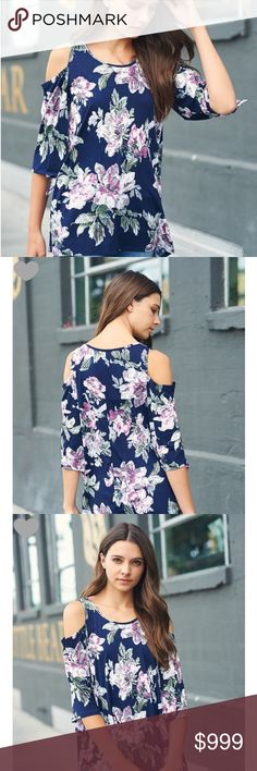 Arrived!!! S-L Navy Floral cold shoulder Tunic top Arrived!!! Super cute navy Floral print cold shoulder Tunic top. Polyester/ Spandex soft and slinky feel, made in USA. Runs loose. Tops