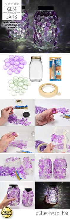 DIY Gem jars from @allisongm ! So pretty for summer entertaining. Get the look using Aleene's Glass and Bead Adhesive!