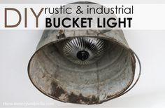 DIY Rustic and Industrial Bucket Light