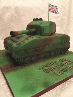Vanilla and chocolate sponge celebration cake for a soldier on leave for his birthday and Christmas for the first time in 5 years. Army Tank Cake, Army Cake, Military Cake, Military Party, Army Party, Army Themed Birthday, Army Birthday Parties, 10 Birthday Cake, Happy 30th Birthday
