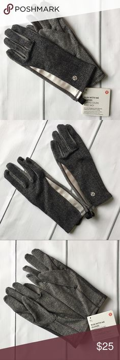 Lululemon Run With Me Gloves Gray Lightweight, tech-friendly gloves with a reflective stripe. Heathered herringbone gray & black. Great for running, but classy enough for a night out. Price is firm unless bundled. I will try to find more of these, but this is my last pair for now. lululemon athletica Accessories Gloves & Mittens