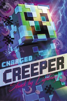 Minecraft Poster Charged Creeper - Minecraft, Pubg, Lol and Creeper Minecraft, Craft Minecraft, Minecraft Kunst, Minecraft Fan Art, Cool Minecraft Houses, Hama Beads Minecraft, Minecraft Buildings, Minecraft Ideas, Images Minecraft