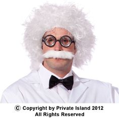 Private Island Party  - Einstein Wig and Mustache 6021, $5.00 - $7.99     Einstein Wig and Mustache Set - Includes Wig and Mustache. Great for costumes or school projects.    Can be worn by child or adults. Albert Einstein accessory. Glasses and Clothes not included.    When wearing wigs, don't forget to buy a wig cap.