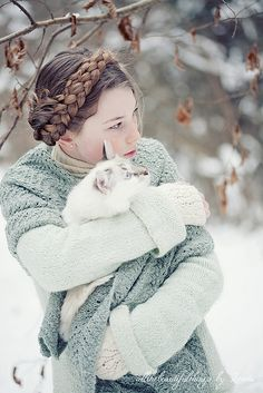 ♂ Girl and cat together Winter Rose