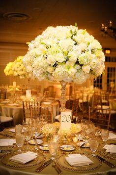 White hydrangea with white roses #Hydrangea #Centerpieces