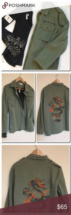 959bfffb303f Spotted while shopping on Poshmark  NWOT Honeypunch Dragon Embroidered  Military Jacket!  poshmark