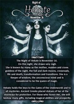 16 November, Night of Hekate Witch Spell Book, Witchcraft Spell Books, Magick Book, Grimoire Book, Witchcraft Symbols, Wiccan Magic, Wiccan Witch, Dark Magic Spells, Hecate Goddess