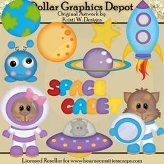 Space Cats Clip Art - *DGD Exclusive* - Created by Kristi W. Designs - Great for printable crafts, scrapbooking, embroidery patterns, and more! www.DollarGraphicsDepot.com
