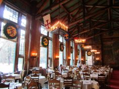 The Ahwahnee Hotel dining room decorated for Christmas and the Bracebridge Dinner - Yosemite National Park