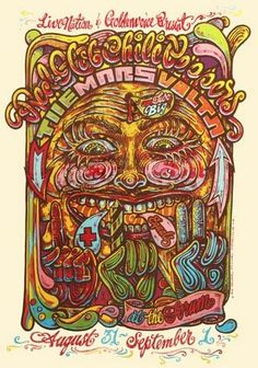 Red Hot Chili Peppers Super trippy Mars Volta gig poster by Michael Michael Motorcycle