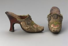 1730s, Europe - Mules - Brocaded silk with silk embroidery, leather, and metallic trim