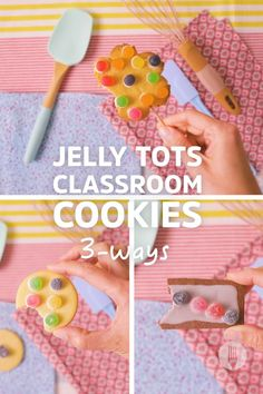 What happens when you combine jelly sweets with an easy cookie recipe? The best sweet treats ever! These vanilla cookies, chocolate cookies, and peanut butter cookies are SO EASY that even the kids can bake along! Get creative with cookie decorating to teach kids shapes, colours, and counting 🍪 Homeschooling and school bake sales have never tasted better! Florentine Cookies, Jelly Tots, Biscuit Cookies, Granola, Biscuits, Sweet Treats, Baking, Kids, Bread