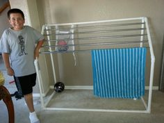 Redesigned poolside towel rack-holds 10 beach  towels plus pool toys. ..now to put it near the pool : )