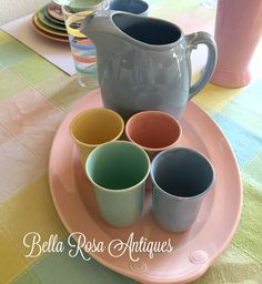 Bella Rosa Antiques Let\u0027s Talk Vintage A Spring Tablescape With LuRay Pastels Dinnerware \u0026 Price Guide & Lu-Ray Pastel Dinnerware Set of 29 by Taylor Smith and Taylor From ...