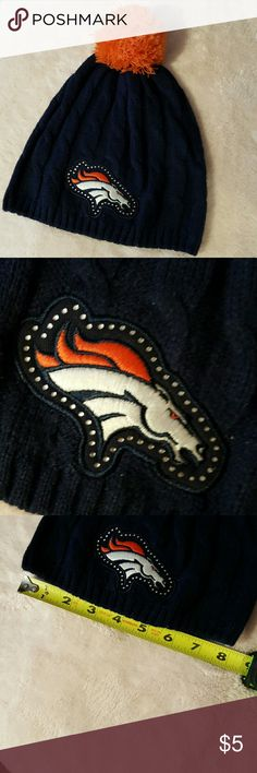 Denver Bronco beanie This beanie is in excellent used condition 100% acrylic measurements are in the pictures just in time for those chilly football games. There are rhinestones surrounding the Bronco NFL team apparel Accessories Hats