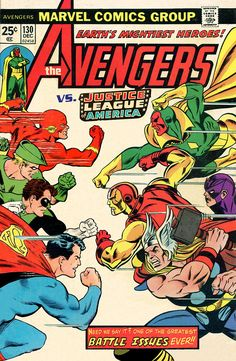 One of the Greatest Battle Issues--EVER! Comic Book Covers, Comic Book Heroes, Comic Books Art, Book Art, Comic Art, Avengers Vs Justice League, Avengers Comics, Marvel And Dc Crossover, Anime Crossover