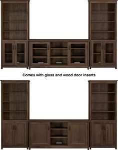 """Ainsworth Walnut 64"""" Media Center with Wood/Glass Doors and 2 Towers  