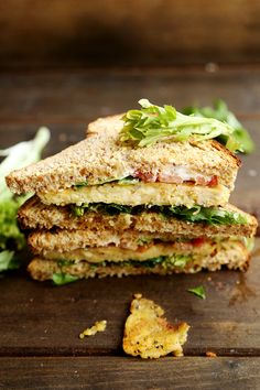 Lemon Tempeh, Lettuce and Tomato Sandwich #vegan