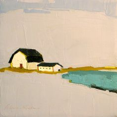 "Donna Walker, ""Promise of Living"" - 8x8 Original Oil Painting on Canvas- White Barn, Landscape, Lake, Pond"