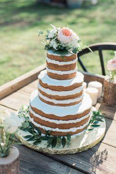 Naked 3 Tier Cake Farm Wedding, Boho Wedding, Dream Wedding, Wedding Day, 3 Tier Cake, Tiered Cakes, Wedding Cake Inspiration, Little Miss, Wedding Styles