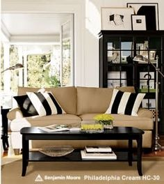 Like The Bold Black And White Striped Pillows On Beige Couch Copy Cat Chic Room Redo I Pottery Barn Inspired Living