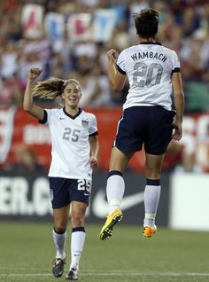 Abby Wambach and Morgan Brian after Wambach scored her career goal -- two short of Mia Hamm's record -- against South Korea on June in Foxborough, Mass. Team USA won (Michael Dwyer/AP) Morgan Brian's (UVA) first USWNT cap. Usa Soccer Team, Female Soccer Players, Us Soccer, Soccer Fans, Team Usa, Soccer Stuff, Soccer Girl Probs, Mia Hamm, Abby Wambach
